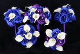 Blue and Purple Rose Wedding Bouquet Collection