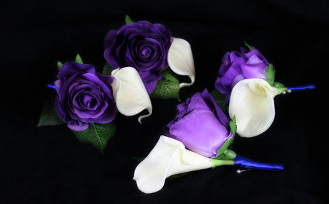 Blue and Purple Rose Boutonniere