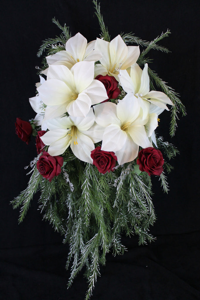 Cascading Christmas Wedding Bouquet Collection Detail