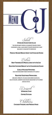 wedding menu, wedding menu's, classic wedding menu, event menu