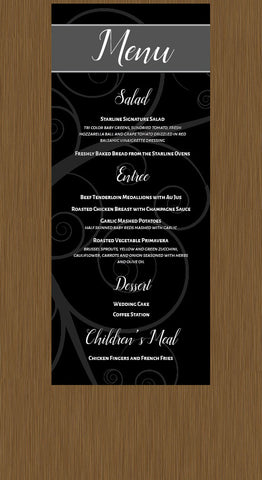 Black Swirl Wedding menu