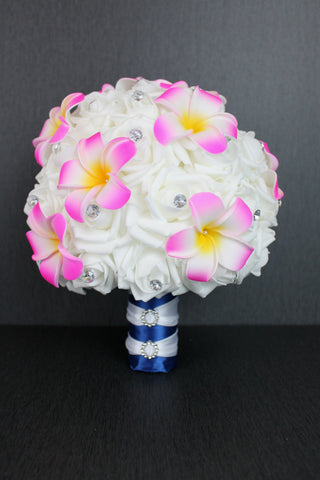 Frangipani & Rose Wedding Bouquet Collection