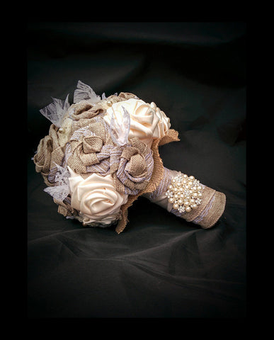Burlap & Ivory Ribbon Bouquet Collection
