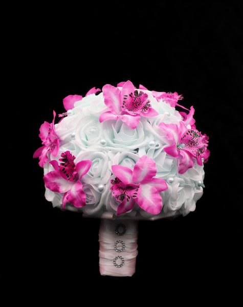 Pink Orchid and Rose Brides Bouquet