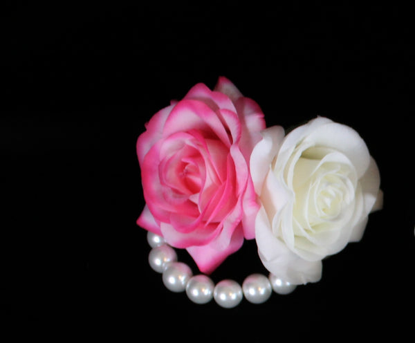 Ivory and pink Rose Pearl Bracelet Corsage