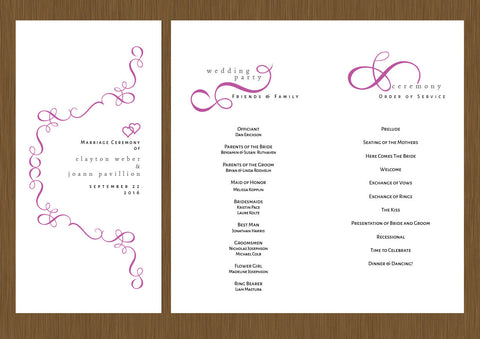 wedding programs, wedding program, script wedding program