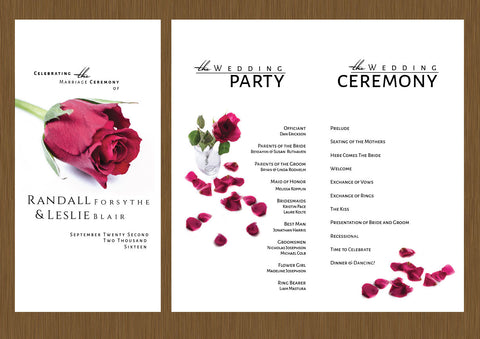 wedding programs, wedding program, floral wedding program