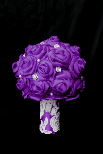 Purple Ribbon Brides Bouquet