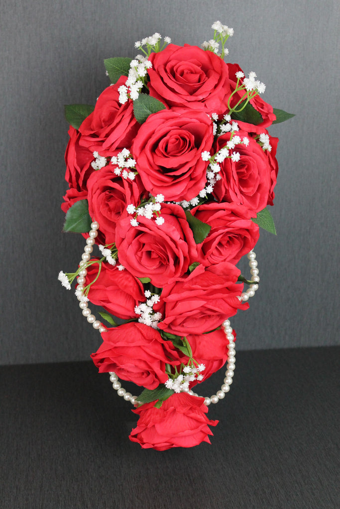 Red Rose Wedding Bouqet.Cascading Red Rose Wedding Bouquet