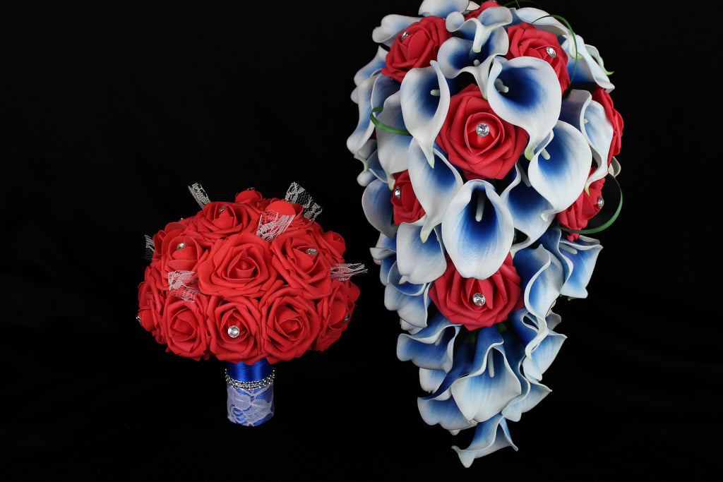 Cascading Red White And Blue Wedding Bouquet Collection