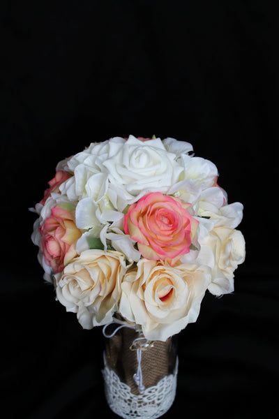 Rustic Rose and Hydrangea Centerpiece