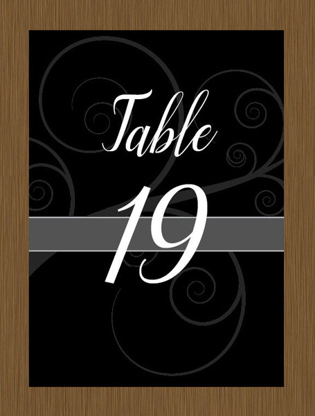 Black Swirl Table Numbers