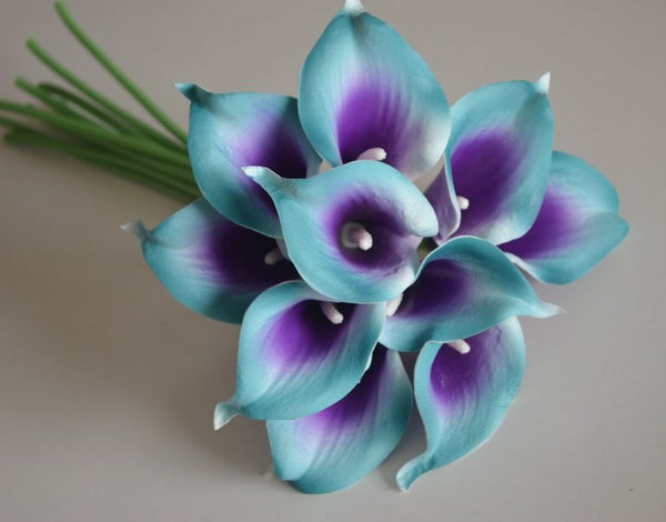 Teal and purple picasso real touch calla lily