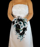 Cascading black Rose & teal Calla Lily Wedding Bouquet Collection
