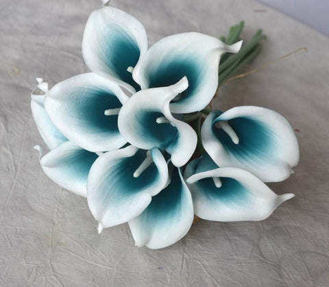 Teal Picasso real touch calla lily