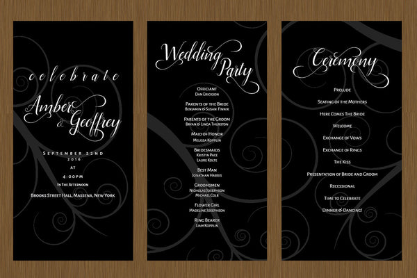 Black Swirl Wedding Program