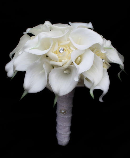 Vintage Roses And Calla Lily Wedding Bouquet Collection