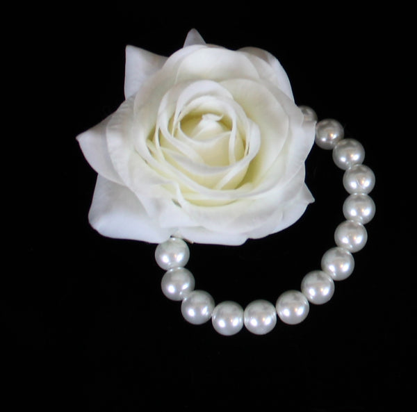 White Rose Pearl Bracelet Corsage