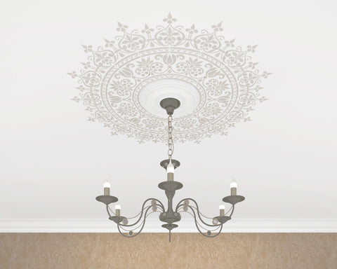 Ceiling Stencil Medallion - Original And Unique Wall Stencil - Reusable Stencil