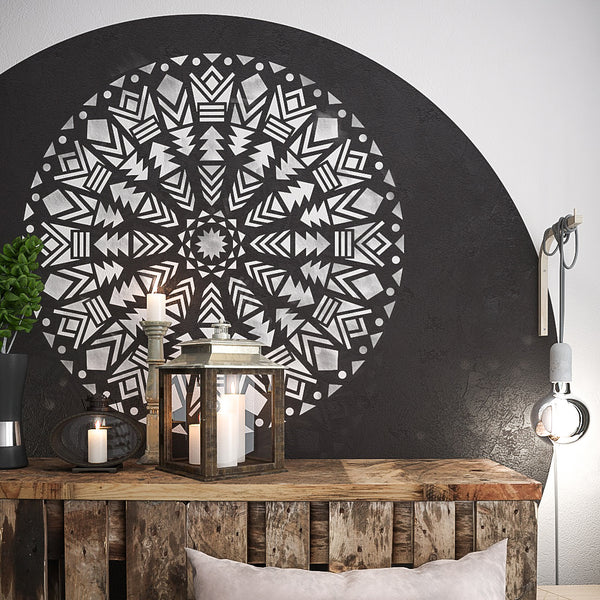 NATIVE MANDALA STENCIL- LARGE WALL STENCILS- WALL ART STENCIL