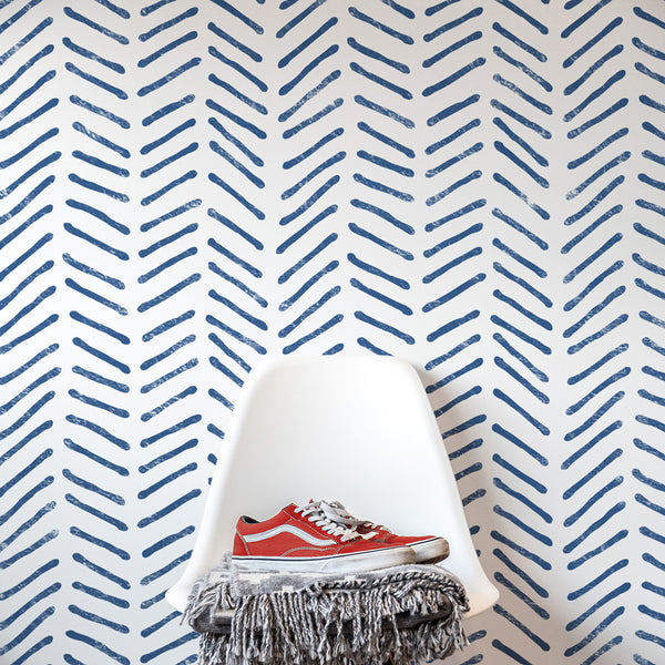 Greta - Hand Drawn Herringbone Wall Stencil - Scandinavian Design Wall Stencils