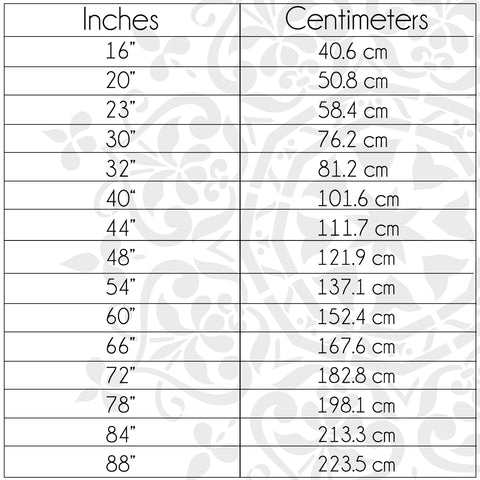 Mandala Wall Stencil Size Chart (Inches To Centimeters)