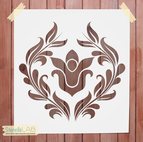 Damask Stencil - Wall Stencil - Decorative Wall Stencil - StencilsLab Wall Stencils