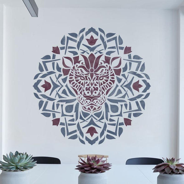 Decorative Lion Stencil - Medallion Stencil - Unique Design Stencil - Mandala Stencil - Zendala - Zentangle Design - StencilsLab Wall Stencils