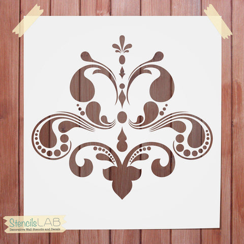 Decorative Wall Stencil - Damask Stencil For Wall Decor - Reusable Stencil - StencilsLab Wall Stencils