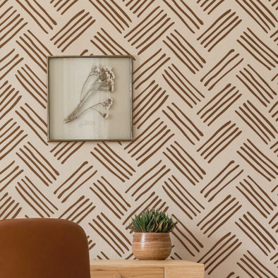 MAURICE- Wall Painting Stencil- Modern Brick Wall Pattern Stencil- Reusable Allover Stencil- Perfect choice for beginners-StencilsLAB Wall Stencils