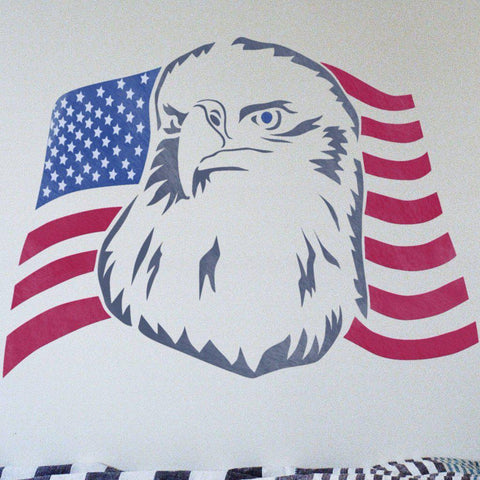 Eagle & American Flag Stencil - Independence Day Decorations - 4th of July Decor - Independence Day Stencil - American Flag Stencil - StencilsLab Wall Stencils