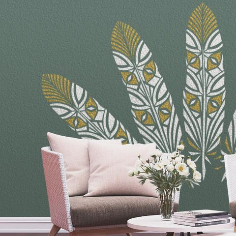 Fantasy Feather Stencil For Walls - Large Feather Wall Stencil - Wall Stencil - StencilsLab Wall Stencils