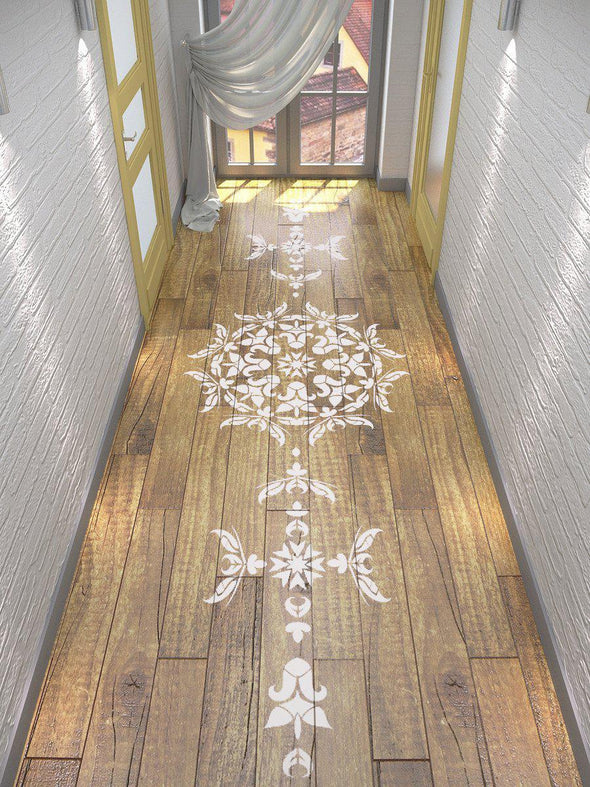 Floor Stencil- Symmetric Mandala Stencil - Stencil For Walls and Floor - StencilsLab Wall Stencils