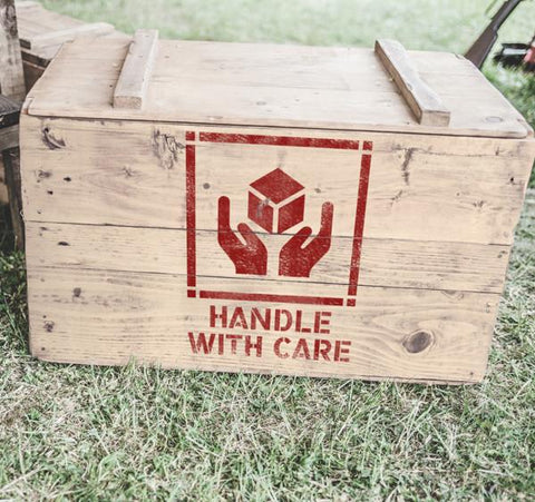 Handle with Care Stencil - Freight Marking Stencil - Shipping Stencils - Industrial Stencils--StencilsLab Wall Stencils