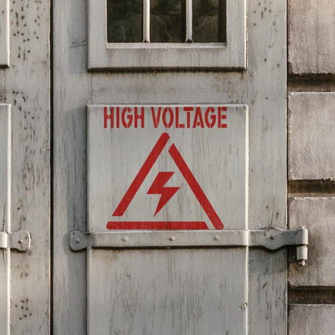 High Voltage Stencil - High Voltage Sign Stencil - Safety Stencils - Industrial Stencils--StencilsLab Wall Stencils