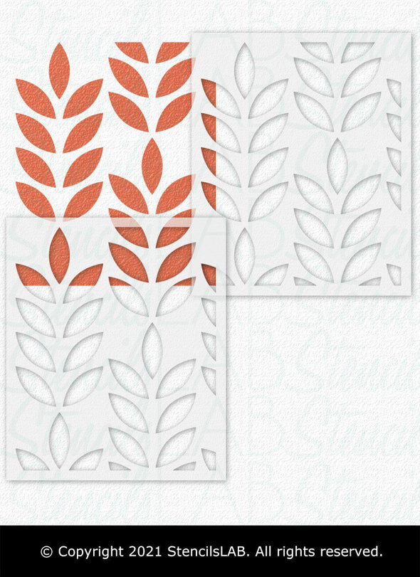 HOLT- Large Reusable Stencil For Painting- Floral Design Wall Stencils- Universal Stencil For Painting Walls & Floors-StencilsLAB Wall Stencils