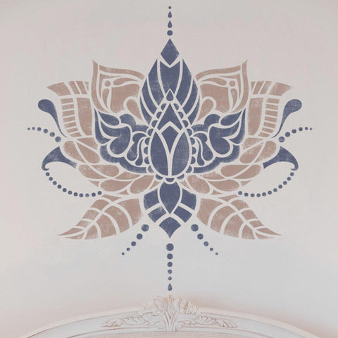 Indian Flower Wall Stencil - Stencil For Painting Walls - StencilsLab Wall Stencils
