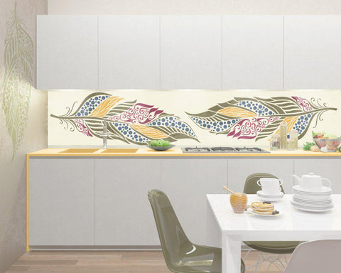 Large Feather Stencil For Walls - Decorative Feather Wall Stencil - Feather  Wall Stencil