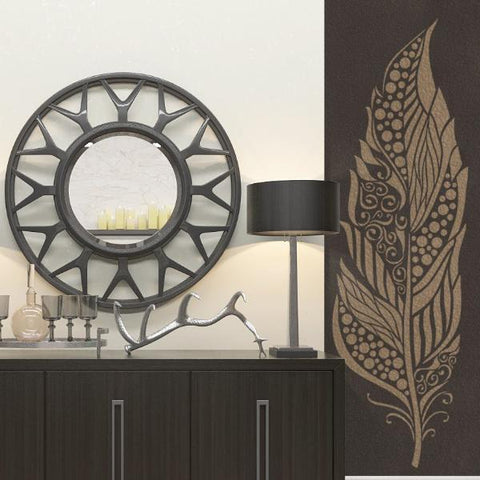 Large Feather Stencil For Walls - Decorative Feather Wall Stencil - Feather Wall Stencil - StencilsLab Wall Stencils