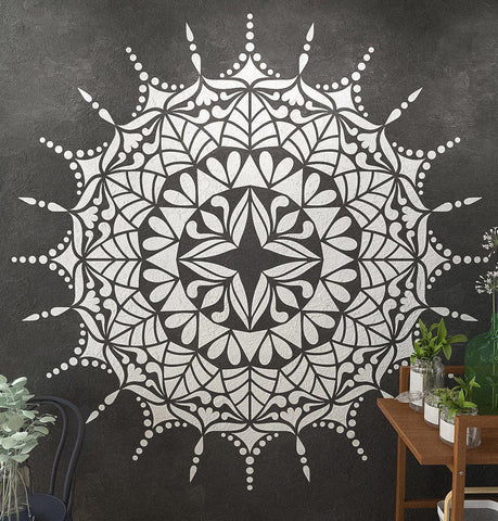 Mandala Stencil COMET - Extra Large Mandala Stencils For Wall And Floor Painting - StencilsLab Wall Stencils