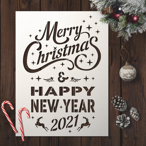 Merry Christmas And Happy New Year Sign - Stencils Kit For Window Decoration- Christmas Stencils - StencilsLab Wall Stencils