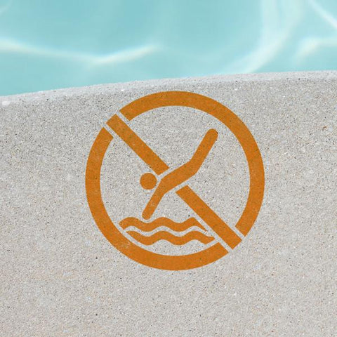 No Diving Stencil - Pool Stencils - Safety Sign Stencils - Industrial Stencils--StencilsLab Wall Stencils