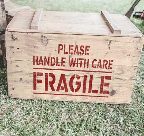 Please Handle With Care Fragile Stencil - Safety Stencils- Shipping Stencils - Industrial Stencils--StencilsLab Wall Stencils