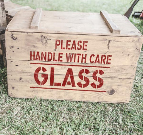 Please Handle With Care GLASS Stencil - Safety Stencils- Shipping Stencils - Industrial Stencils--StencilsLab Wall Stencils