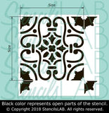 SARITA - Spanish Tile Stencil - Reusable Stencil For Painting - StencilsLab Wall Stencils