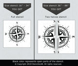 Traveler- Compass Rose Stencil - Reusable Stencil For Painting-StencilsLAB Wall Stencils