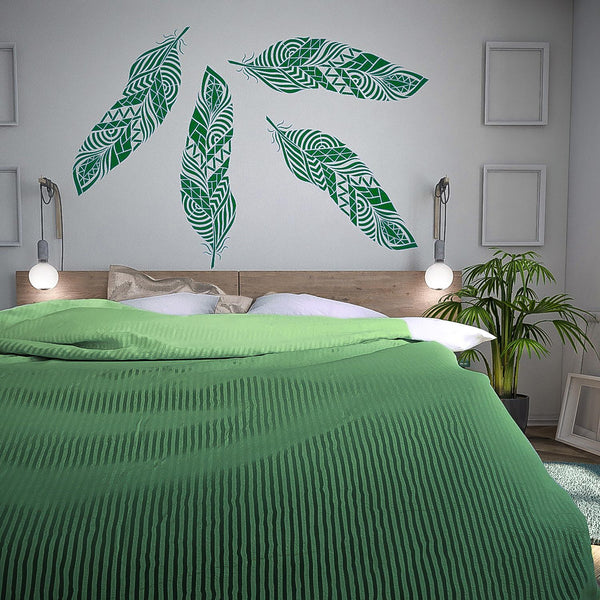 Tribal Feather Stencil For Walls Large Feather Wall