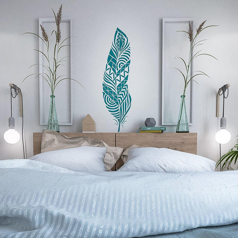 Feather Wall Stencil - Tribal Feather Wall Stencil - Wall Stencil - Large Wall Stencil