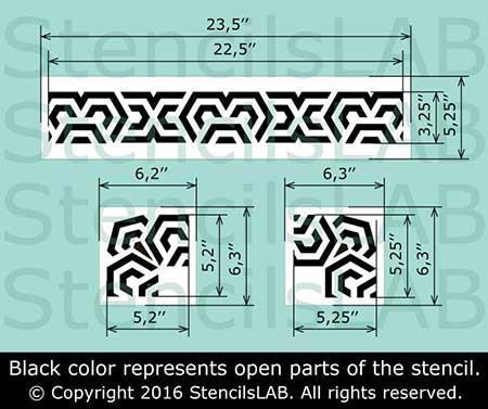 MERIDIAN - Border ornament stencil - Furniture Stencils - Wall Stencils - StencilsLab Wall Stencils