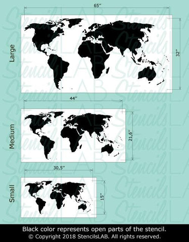 Large World Map Stencil - Reusable World Map Stencil instead of ...